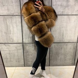 Image 5 - Abrigo de piel de mapache para mujer, abrigo de piel natural de mapache de manga larga