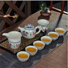 Jingdezhen Xin Sheng hand-painted antique Ming Cheng hua chicken bucket color cylinder cup tea set Kung Fu ceramic gifts