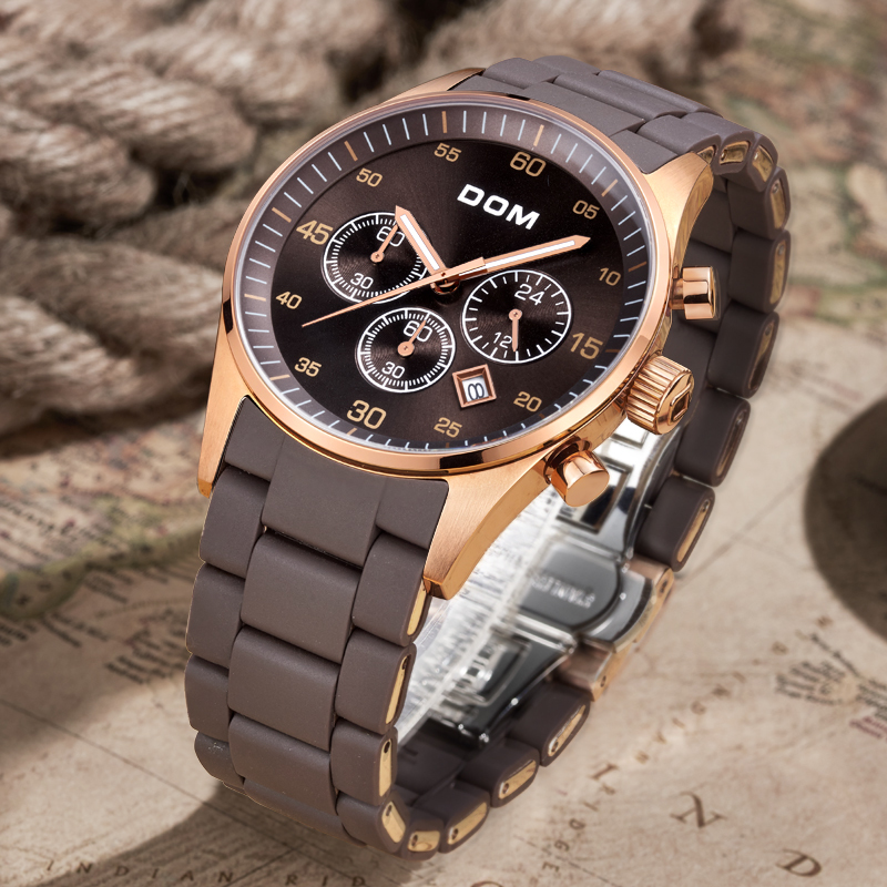 купить DOM Brand Men's Fashion Casual Sport Watches Men Waterproof Quartz Watch Man military Clock Relogio Masculino M-540 по цене 5099.13 рублей