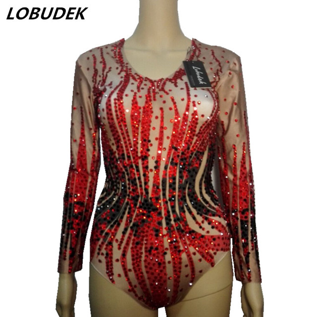 2ea36eaed86 Sexy Bar female costumes bodysuit nightclub red rhinestones Bright Crystals  Catsuit outfit Singer dancer performance stage wear