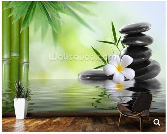 Personnalisé papier peint en bambou, zen pierres de basalte, naturel ...