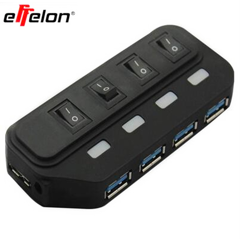 effelon portable Micro USB 3.0 super speed 5gbps 4 ports Mini USB 3.0 With separete switch computer cable USB splitter Adapter