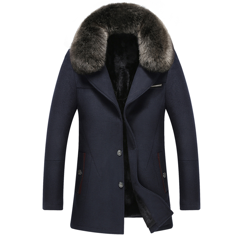 New Casual Big Fur Collar Thicken Warm Winter Jacket Men Excellent Quality Single Breasted Coat For Man