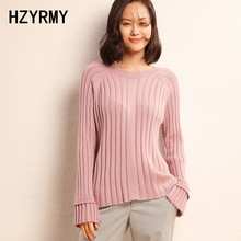 HZYRMY Autumn Winter New Women Cashmere Sweater Solid color O Neck High Quality Pullover Fashion Warm Wool Short Female