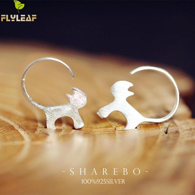 Flyleaf 100% 925 Sterling Silver Cute Cat Stud Earrings For Women Fashion Style Girl Jewelry