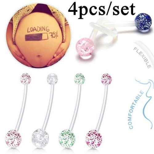 4pcs Multicolor Flexible Clear Dangle Navel Rings Pregnant Woman Navel Bars Fashion Belly Button Ring Piercing Sexy Body Jewelry