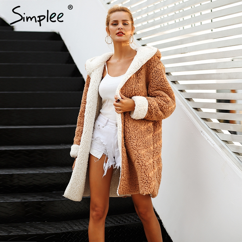 Simplee Faux lambswool hairly grosso mulheres jaqueta casaco plus size Inverno quente jacket Mulheres outono outerwear casaco feminino 2018