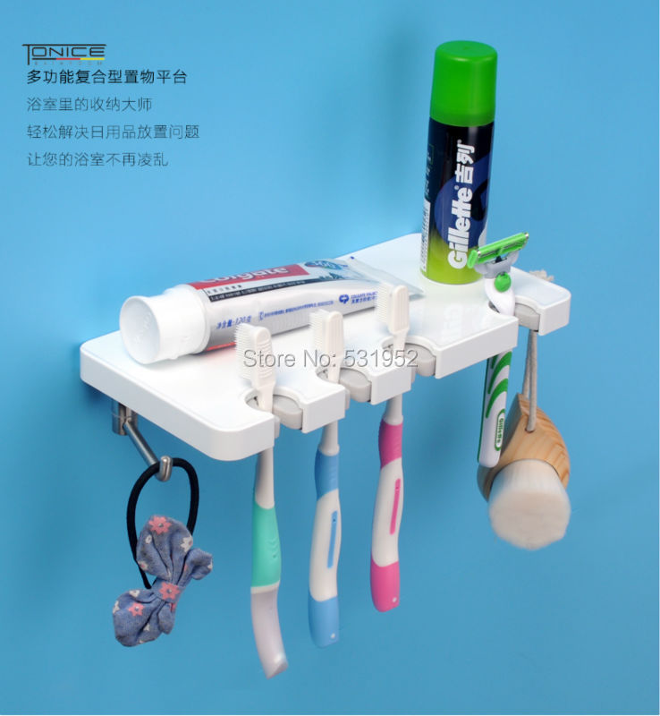 Free Shipping Bathroom Shelves Toothbrush Holder Set Wall Mount Stand toothbrush Family sets Fashion Design New Arrive ladybug toothbrush holder wall suction bathroom sets cartoon sucker hooks good morning fast arrived