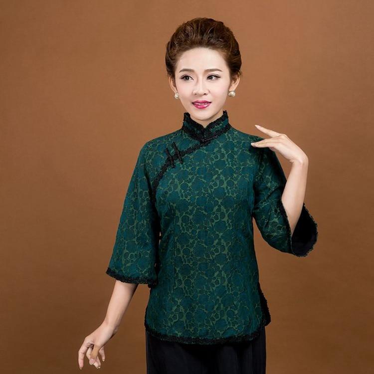 Haute qualité vert chinois femmes soie coton chemise dame élégant Vintage fleur dentelle col Blouse taille M L XL XXL XXXL 6020