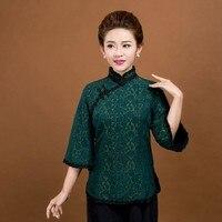 High Quality Green Chinese Women's Silk Cotton Shirt Lady Elegant Vintage Flower Lace Collar Blouse Size M L XL XXL XXXL 6020