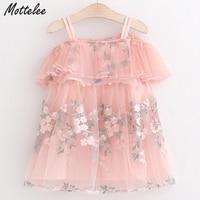 Mottelee Dress for Girls Flower Embroidery Kids Dresses Tulle Off Shoulder Outfit Summer Strap Children Frocks for Little Girl