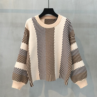 Hot Coming New Lantern Sleeves Sweater Women's Headwear Korean Baggy Round Collar Small Fresh Knitted Striped Jacket Coat Tide