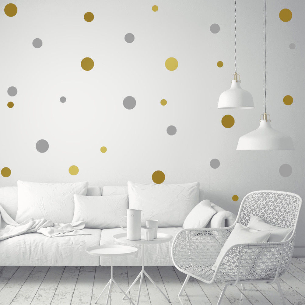 Gold Polka Dots Wall Stickers for Kids Room Baby Children ...