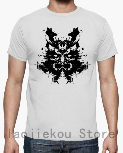 100% Cotone Uomini Divertenti T Delle Donne Della Camicia Della Maglietta Di Modo Del Samurai Del Rorschach T-shirt Unisex Fresco Bianco E Nero Camicie