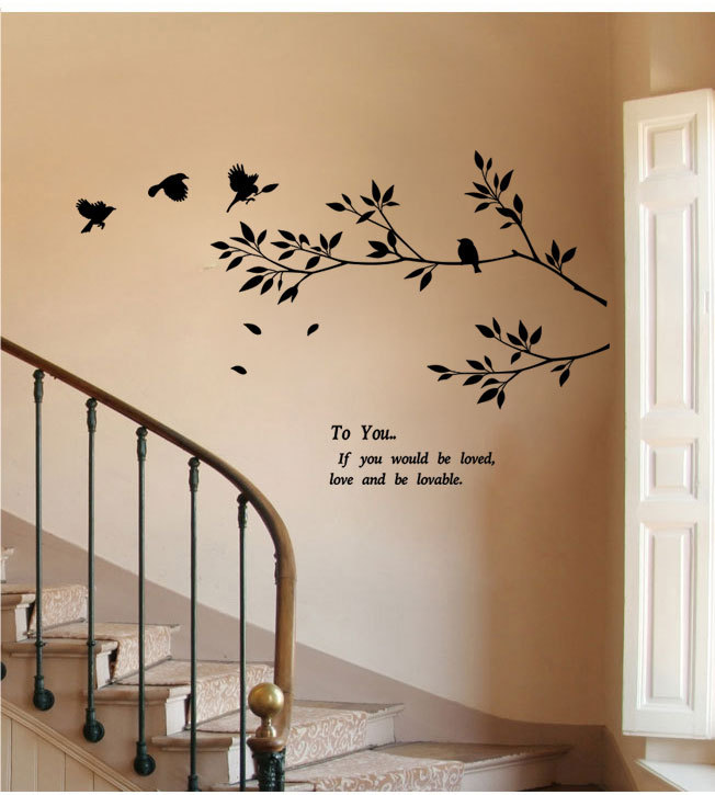 Diy swallow birds on branches branches tree wall decals for Diy tree wall mural