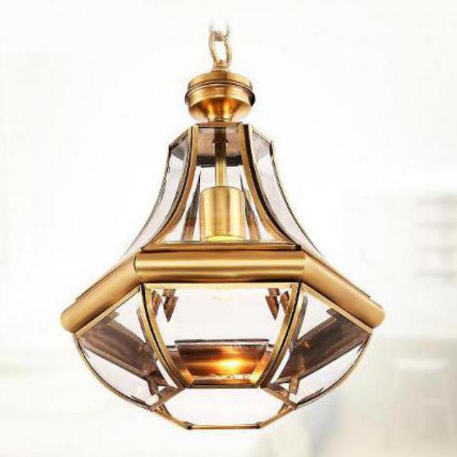 Regron Vintage Pendant Lighting America Style Hanging Lantern Glass Copper Suspension Luminary For Porch Aisle Balcony Cafe