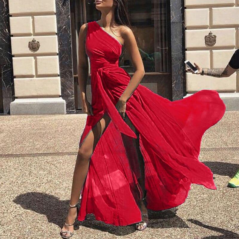 AECU женское шифоновое платье макси, сексуальное пляжное платье на одно плечо, сарафан, Элегантное Длинное платье для женщин, одежда Vestidos|Платья|   | АлиЭкспресс - Платья