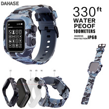 For Apple Watch Series 4 3 2 Case Camouflage Silicone Band for iWatch 42mm 44mm Waterproof Shockproof Cover Strap Set