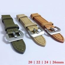 20mm 22mm 24mm 26mm de Cuero Correa de Reloj Venda de Reloj Del Hombre Correas Verde Naranja Beige con Acero inoxidable Hebilla De Plata