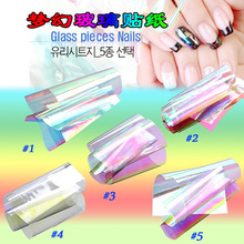 Hot Sale 5 Colors/Set New Broken Glass Pieces Mirror Foil Tips Stencil Decal Nail Art Sticker Cute Tools