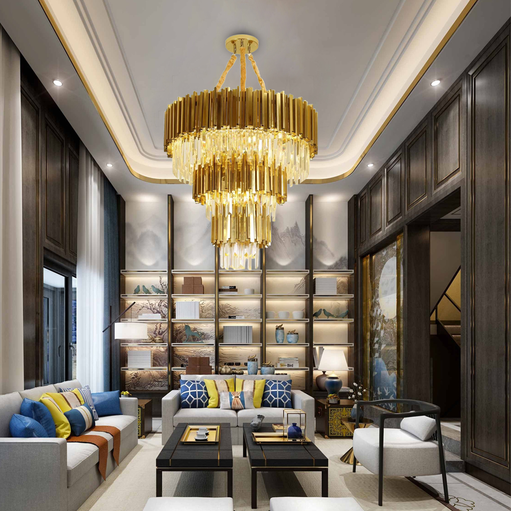 Luxury Modern Crystal Gold Stainless Steel Chandeliers Lighting 1