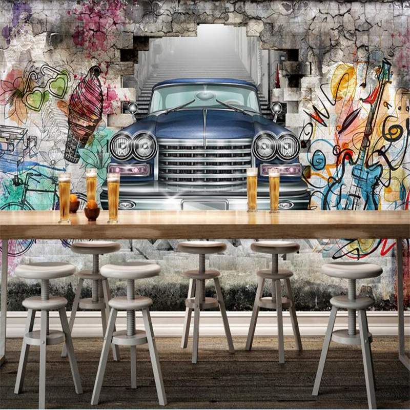 beibehang Custom 3d photo wallpaper vintage car hand drawn graffiti wall 3D three-dimensional restaurant bar background mural