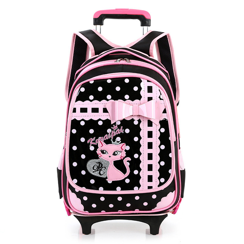 2 Wheels Children School Bags for Girls Boys Trolley Backpack carton pattern rolling luggage kids detachable and orthopedic bag