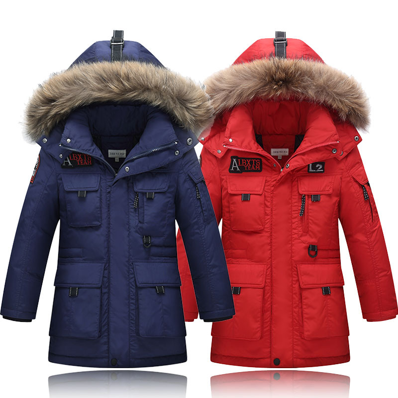 Children's Winter Outerwear 2017 New Boys Long Down Jackets White Duck Down Coats Child Outwear Kids Hooded Thick Clothes 14Y buenos ninos thick winter children jackets girls boys coats hooded raccoon fur collar kids outerwear duck down padded snowsuit