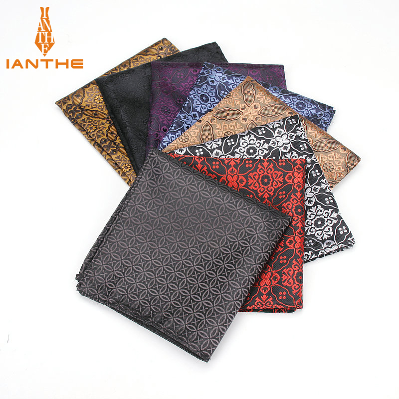 Men's Pocket Square Geometric Pattern Handkerchief Fashion Hanky For Men Business Suits Hankies Towel Accessories 25cm*25cm