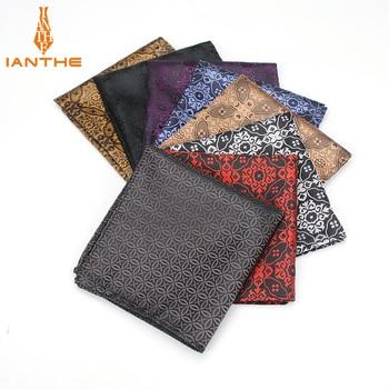 Men's Pocket Square Geometric Pattern Handkerchief Fashion Hanky For Men Business Suits Hankies Towel Accessories 25cm*25cm