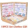 18 шт. Хлопок младенческой комплект одежды зима детская одежда новорожденных детская одежда мальчик в девочке одежда для новорожденных baby пижамы подарочный набор TZ37