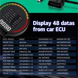 Image 2 - GEYIREN P15 head up display hud obd2 temperatur auto KM/h MPH Turbo Boost Druck geschwindigkeit projektor auf die windschutzscheibe für auto HUD