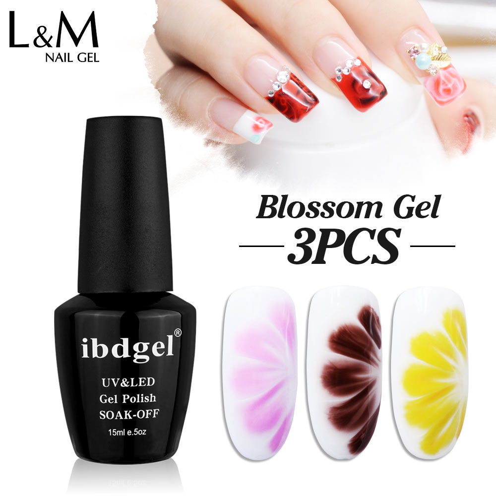 3 Unids / lote Blooming Gel Polish Para 15 ml de Larga Duración Uv Gel Verish Blossom Nail Gel UV Colores Colores Arte Para gel esmalte de uñas