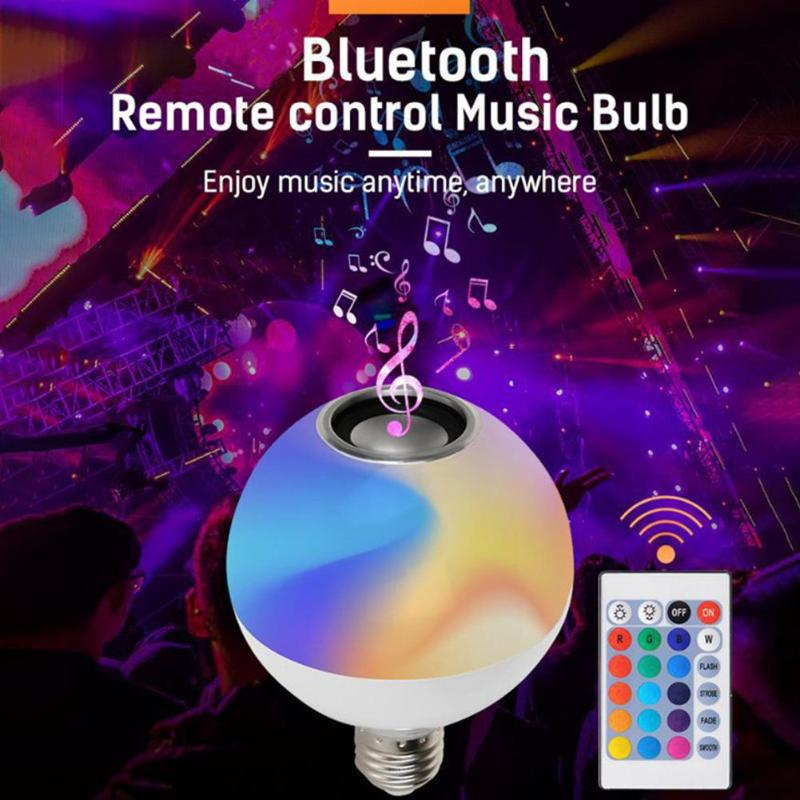 Smart E27 RGB Bluetooth Speaker LED Bulb Light Dimmable With Remote Control 85-265V RGB LED Light Bulb Music Control