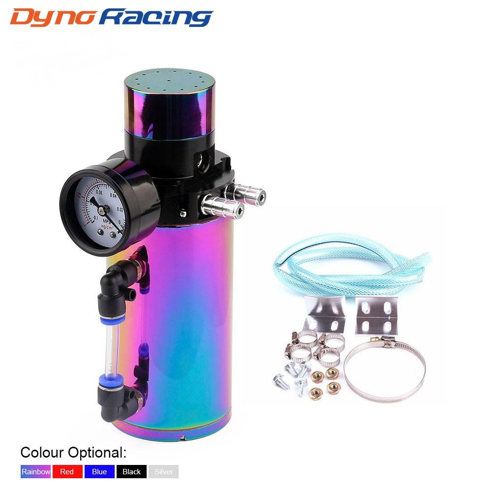 Aluminum Engine Oil Catch Reservoir Breather Tank Can+Vacuum Pressure Gauge Oil Catch Tank Oil Catch Can YC100770