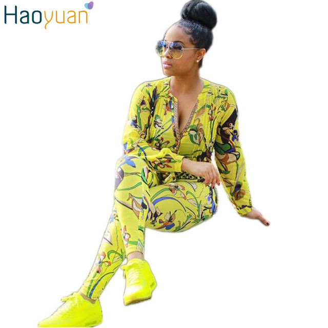 HAOYUAN Autumn Sexy Printed Two Piece Pants Set Long Sleeve Deep V Neck 2 Piece Set Women Fashion Tracksuit Sweat Suits Outfit