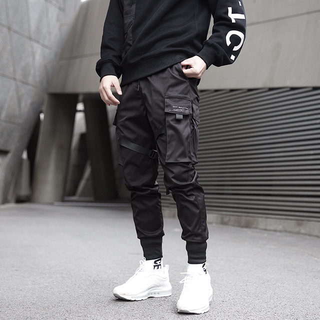 Men Ribbons Color Block Black Pocket Cargo Sweatpant Hip Hop Trousers 5