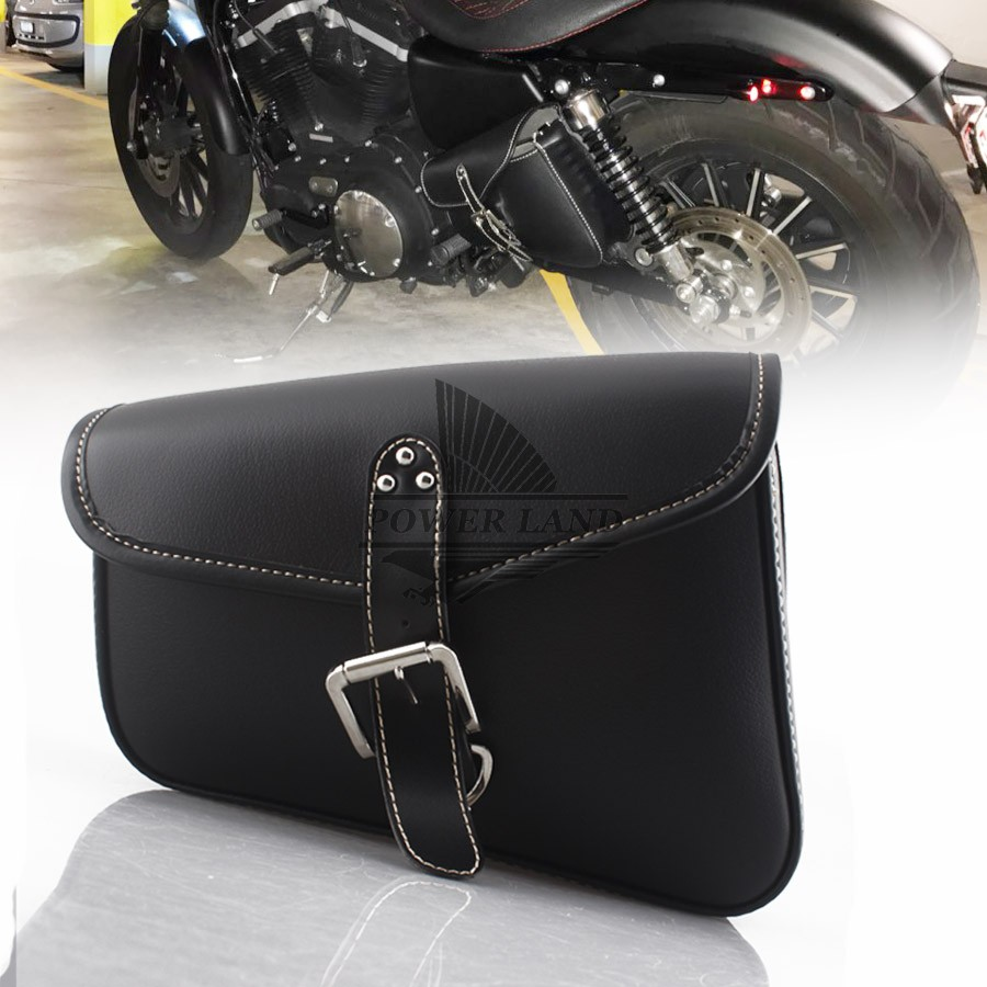 Black PU Leather Motorcycle Luggage Left Side Saddle Bags Rider Motorbike Panniers For Harley Sportster XL 883