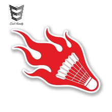 EARLFAMILY 13cm X 7cm Car Sticker Waterproof Shuttlecock Badminton With Flame Vinyl Sticker Laptop Helmet Bike Car Darts Gift(China)