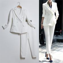 Women Autumn Fashion Formal Suits Elegant Office Lady Career Work Wear Casual 2 piece set Tops and Pants  TB