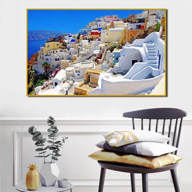 € 8.49 20% de réduction|Architecture grecque classique paysage imprimé  toile peinture peintures à l\'huile sur toile décoration murale affiches et  ...
