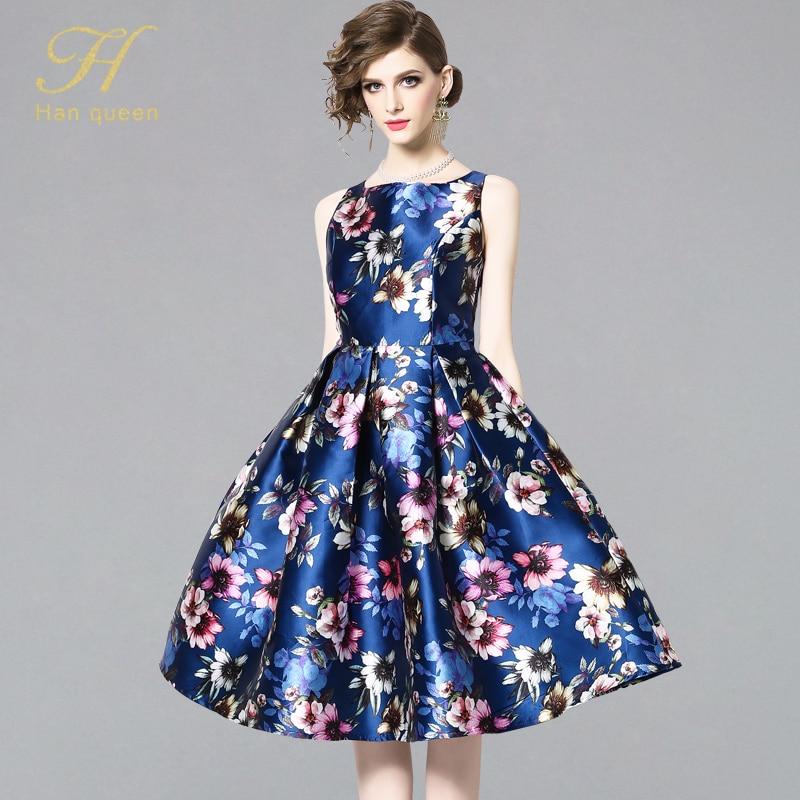 H Han Queen New Arrival 2019 Spring Vintage Sleeveless Jacquard  Dress Slim A Line Party O neck Knee length VestidosDresses   -