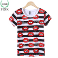 LIKEPINK 2017 Summer Women Tops Lips Letter Pattern Harajuku T-shirt Femenina T Shirt Mockup Tee Shirt Femme Poleras Mujer Black