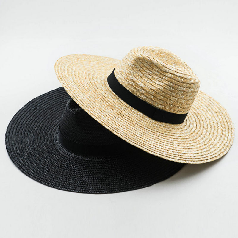 13cm Big Brim Straw Sun Hats For Women Men Beige Black Wide Brim Jazz Hats Sun Protection Beach Hat Derby Church Summer Fedoras