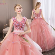 Romantic Quinceanera dresses 2019 New Appliques Flowers Ball Gown V Neck Sleeveless Pink Party Prom Formal Tulle Robe De Soiree
