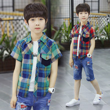 Get more info on the Fashion Summer Boys Plaid Shirts Children Short Sleeve Turn-down Collar Comfortable Kids Cotton Clothing 5 7 9 11 13 14 Years