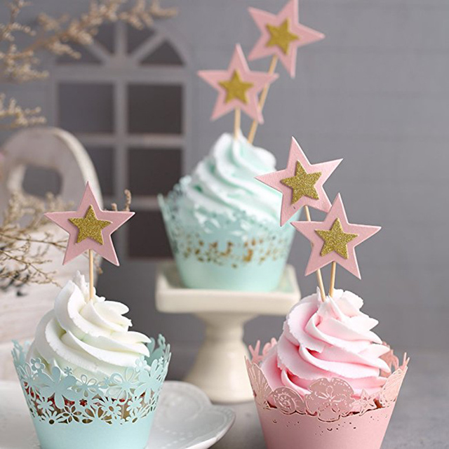 10 stks/set Twinkle Little Sterren Cake Decor Zoete Dessert Toppers Birthday Party Baby Shower Bruiloft Decoratie Bakken Levert