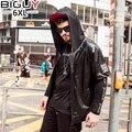 BIG GUY 2017 Black Pu Leather Hooded Jacket Short Sleeve Leather Jacket Men Punk Male Leather Jacket 1500