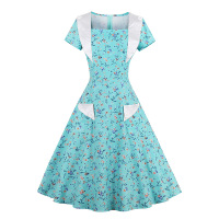 Sisjuly Vintage Women Dresses 1950s Style Floral Print A Line Short Sleeve 50s Summer Dress White