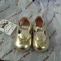 2016 nova outono crianças couro genuíno shoes para o bebê rosa das meninas fashion shoes crianças marca ouro shoes criança andando shoes